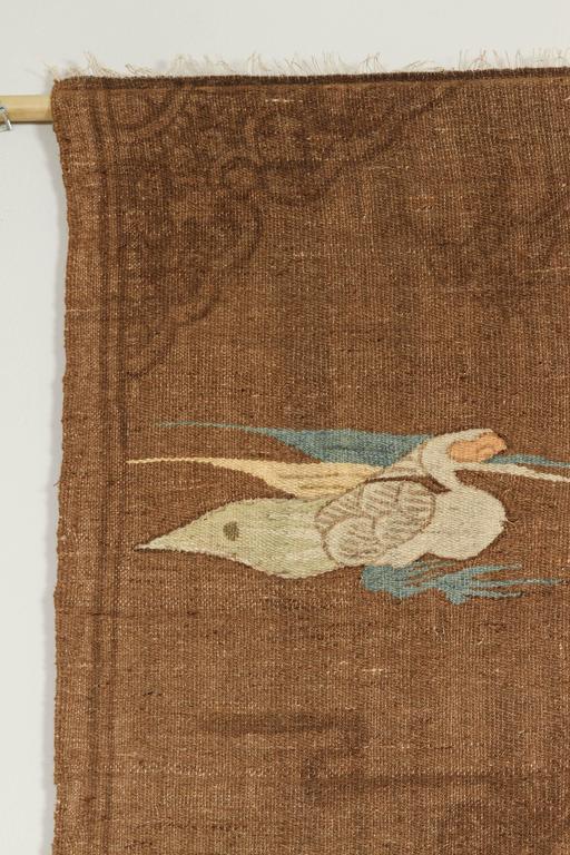 Mongolian Kilim Carpet/Wall Hanging, Brown, Teal, Peach, Ivory 5