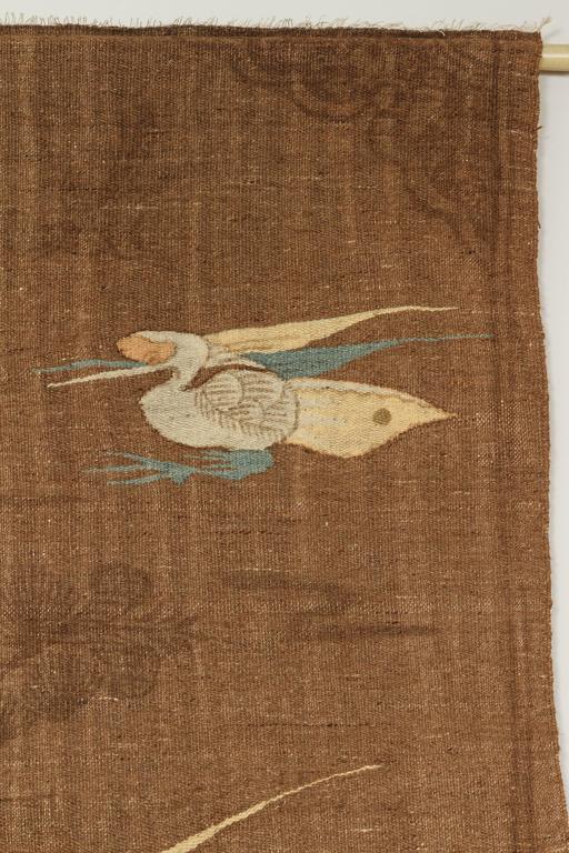 Mongolian Kilim Carpet/Wall Hanging, Brown, Teal, Peach, Ivory 6