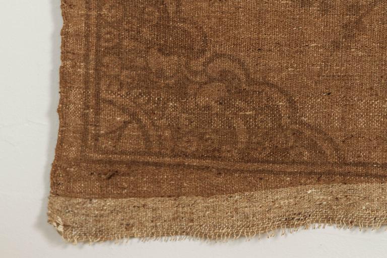 Mongolian Kilim Carpet/Wall Hanging, Brown, Teal, Peach, Ivory 7