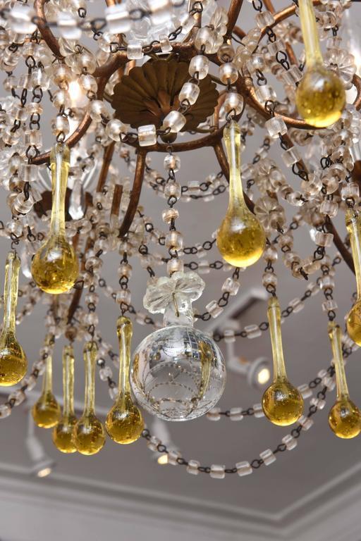 Italian Vintage Venetian Glass and Gilt Metal Chandelier For Sale