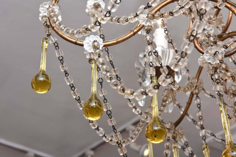 Hand-Crafted Vintage Venetian Glass and Gilt Metal Chandelier For Sale