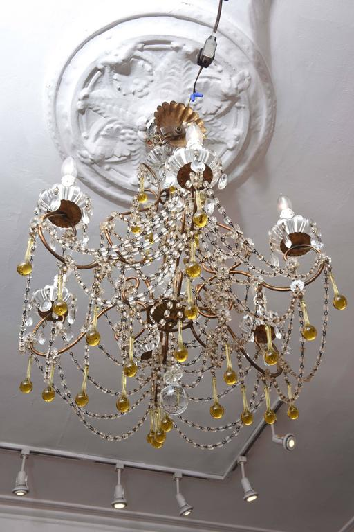 Vintage Venetian Glass and Gilt Metal Chandelier In Good Condition For Sale In West Palm Beach, FL