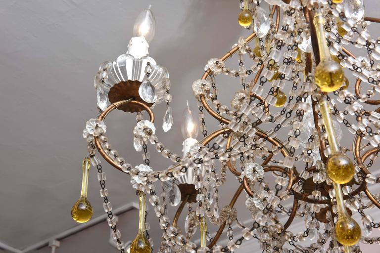 20th Century Vintage Venetian Glass and Gilt Metal Chandelier For Sale
