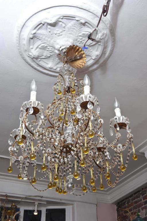Vintage Venetian Glass and Gilt Metal Chandelier For Sale 1
