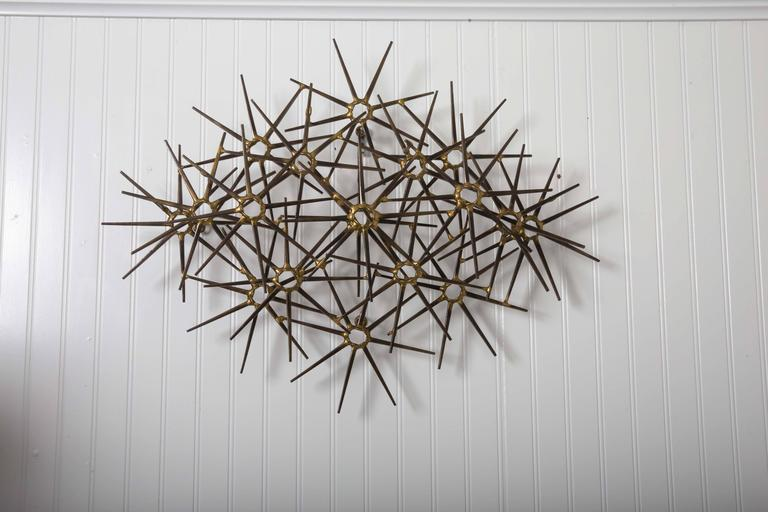 American Mid-Century Metal 17 Starburst Wall Sculpture For Sale
