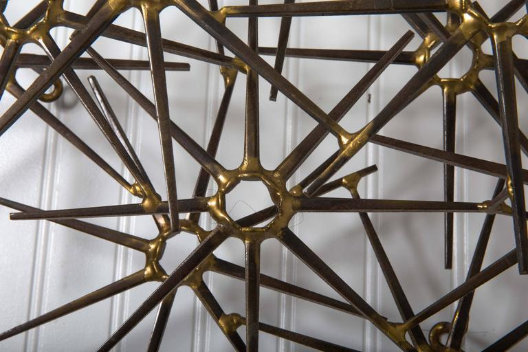 Mid-Century Metal 17 Starburst Wall Sculpture In Excellent Condition For Sale In Southampton, NY