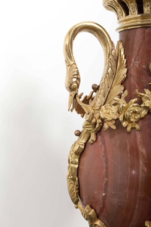 French Pair of 19th Century Red Marble and Gilded Bronze Ormolu Mounts Pear Shaped Urns For Sale