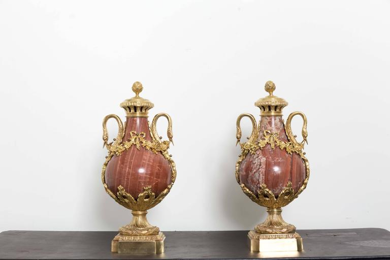 Pair of 19th Century Red Marble and Gilded Bronze Ormolu Mounts Pear Shaped Urns For Sale 1