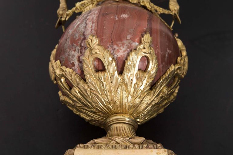 Pair of 19th Century Red Marble and Gilded Bronze Ormolu Mounts Pear Shaped Urns For Sale 4