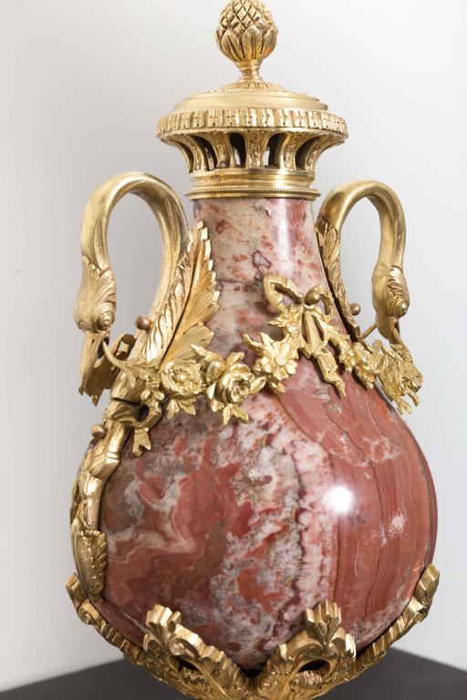 Pair of 19th Century Red Marble and Gilded Bronze Ormolu Mounts Pear Shaped Urns For Sale 5