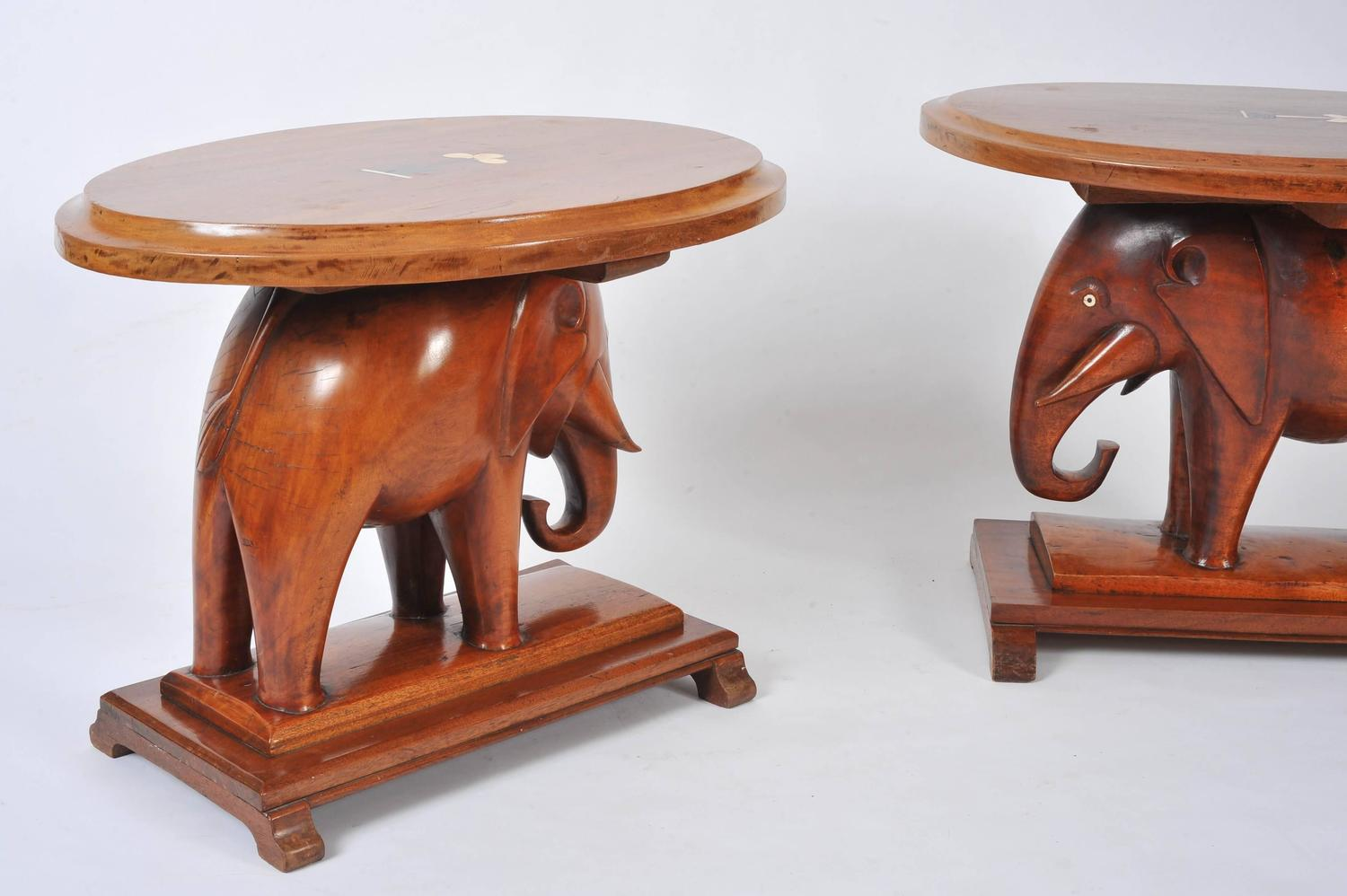Pair Of Decorative Carved Elephant Side Tables For Sale At