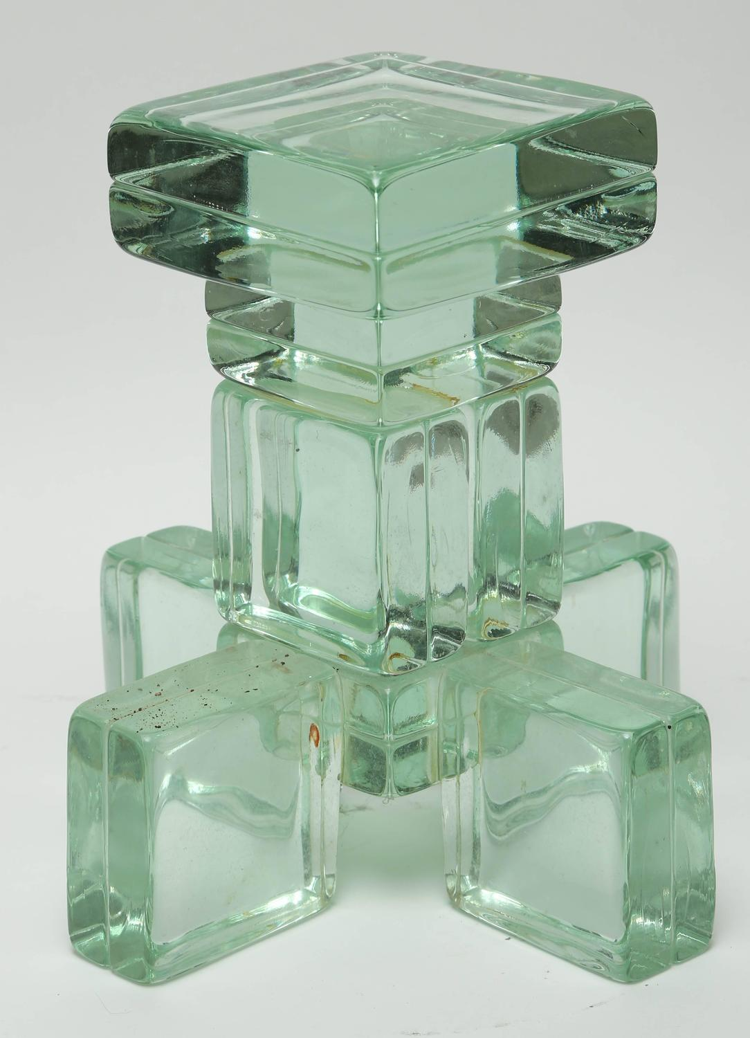 Mid Century Modern Imperial Imagineering Sculptural Solid Glass Block Side Table For Sale At 1stdibs
