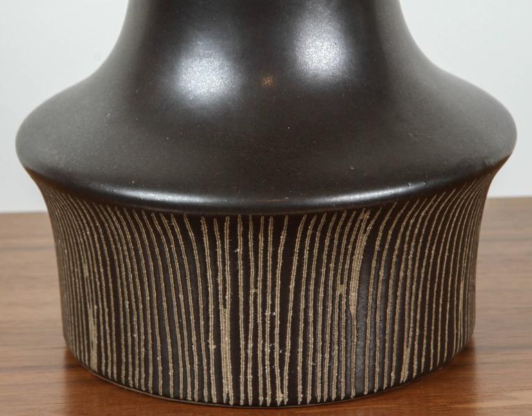 Matte Black Ceramic Lamp with Striped Base by Martz 4