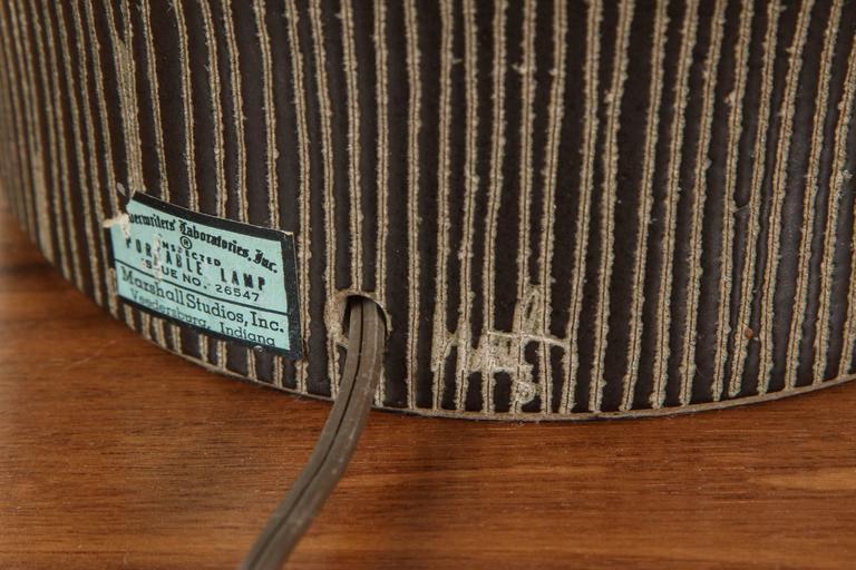 Matte Black Ceramic Lamp with Striped Base by Martz 5
