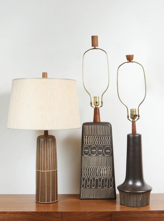 Matte Black Ceramic Lamp with Striped Base by Martz 6