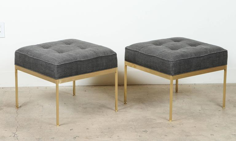 Pair of square brass ottomans by Lawson-Fenning.