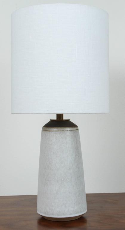 Pair of Birch White with Bronze Stripe Ceramic Table Lamp by Victoria Morris 2