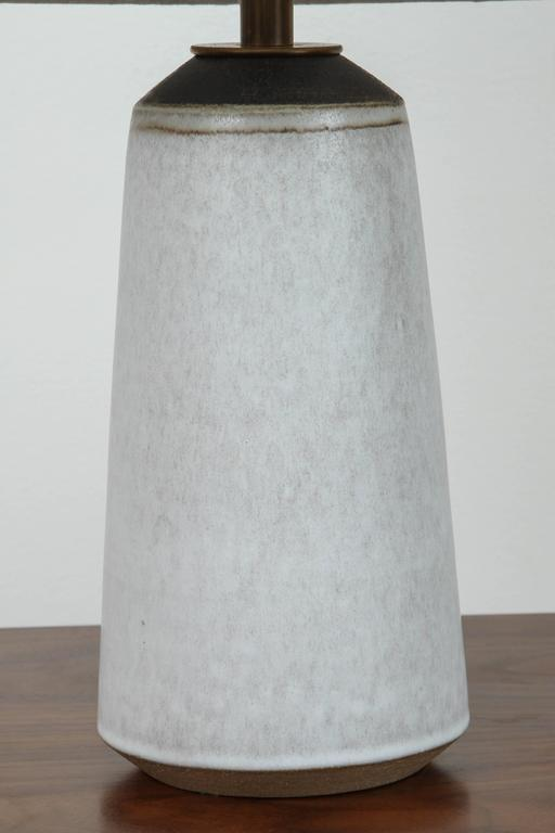 Pair of Birch White with Bronze Stripe Ceramic Table Lamp by Victoria Morris 3