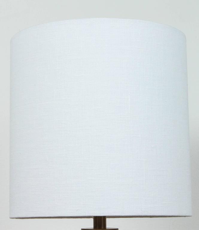 Pair of Birch White with Bronze Stripe Ceramic Table Lamp by Victoria Morris 4
