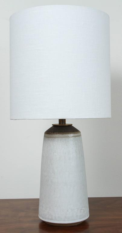 Pair of Birch White with Bronze Stripe Ceramic Table Lamp by Victoria Morris 5