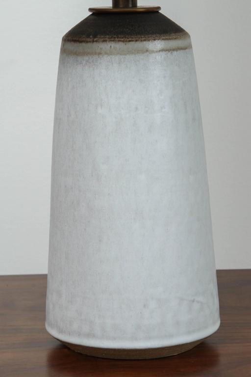 Pair of Birch White with Bronze Stripe Ceramic Table Lamp by Victoria Morris 6
