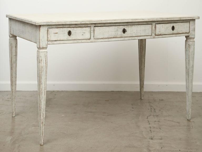 Antique Swedish Gustavian Writing Desk Painted Cream White Color Elegant And Simple