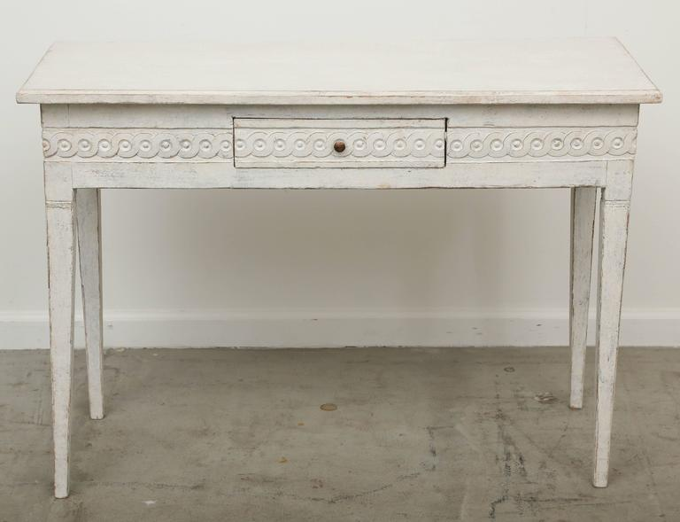 Antique Swedish Gustavian Painted Console Table With Drawer Mid 19th  Century 3
