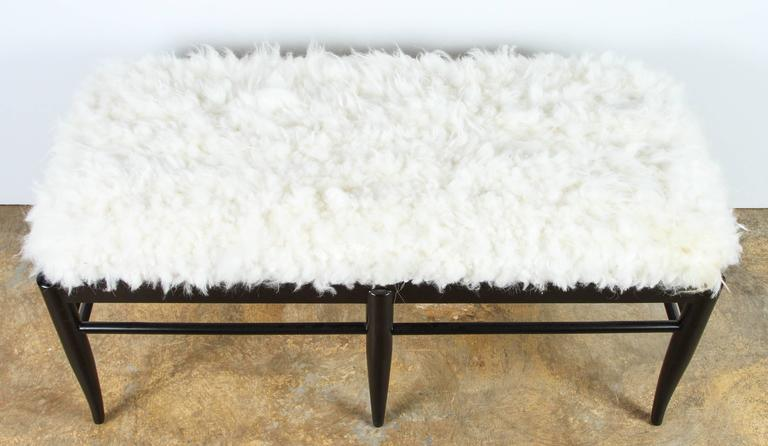 American Gio Ponti Inspired Bench in Natural Sheepskin For Sale