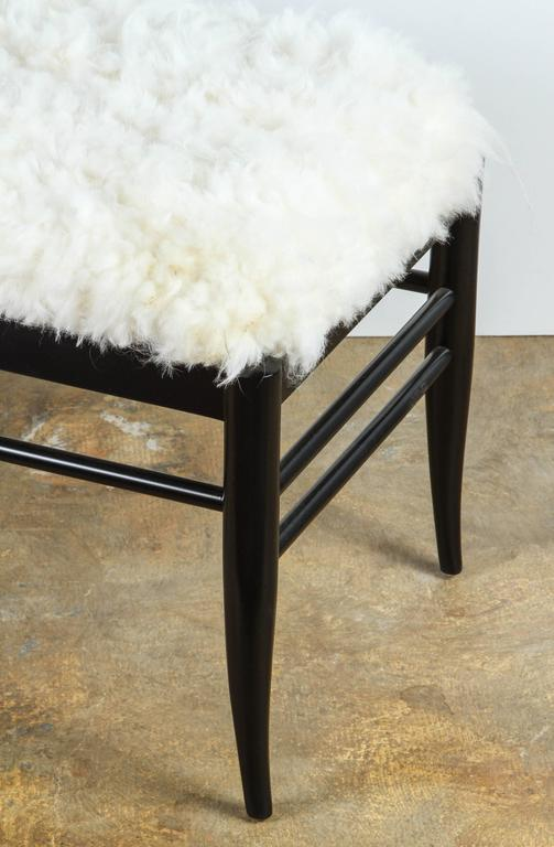Wood Gio Ponti Inspired Bench in Natural Sheepskin For Sale