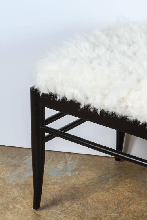 Gio Ponti Inspired Bench in Natural Sheepskin For Sale 1