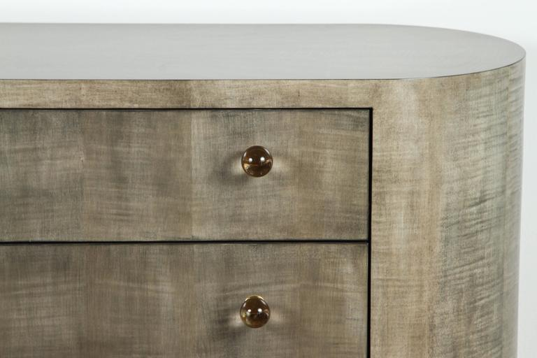 Mid-Century Modern Italian Inspired 1970s Style Rounded Chest of Drawers For Sale