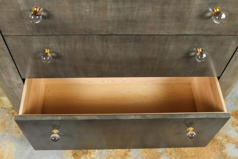 Sycamore Italian Inspired 1970s Style Rounded Chest of Drawers For Sale