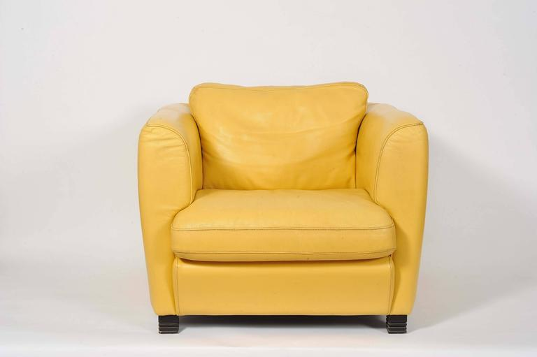 Pair Of French 1960s Cream Yellow Leather Club Chairs At