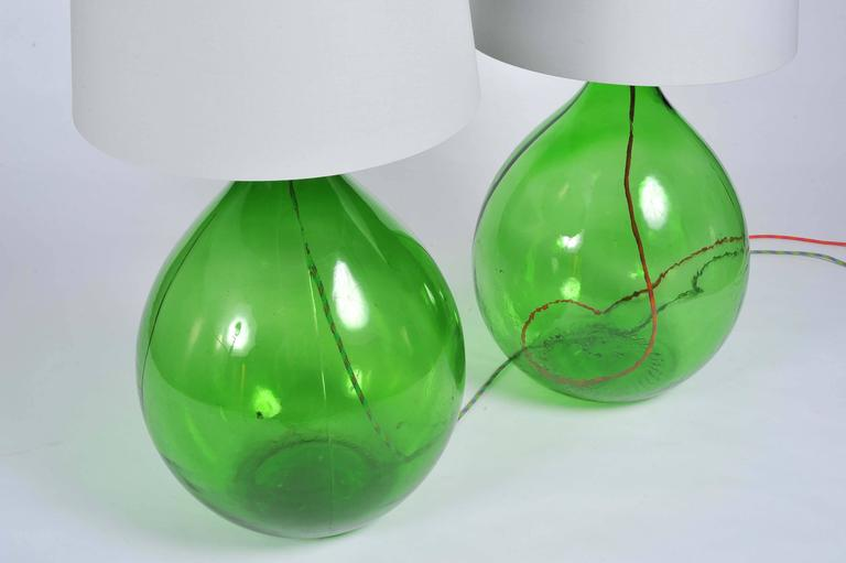 Pair of Vintage Handmade Green Demijohn Glass Bottles ...