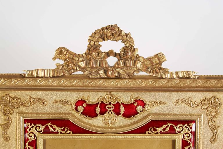 Belle Époque Large French Gilt Bronze Ormolu and Red Guilloche Enamel Picture Photo Frame For Sale