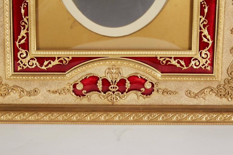 Large French Gilt Bronze Ormolu and Red Guilloche Enamel Picture Photo Frame In Excellent Condition For Sale In New York, NY