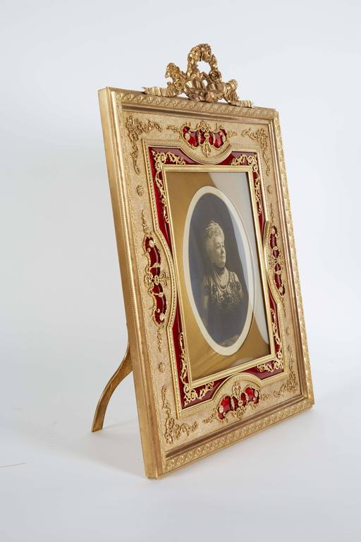 Large French Gilt Bronze Ormolu and Red Guilloche Enamel Picture Photo Frame For Sale 1
