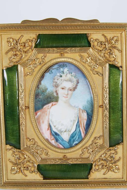 French Gilt Bronze Ormolu and Green Guilloche Enamel Picture Photo Frame In Excellent Condition For Sale In New York, NY