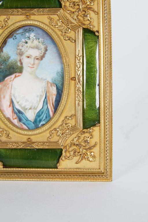 19th Century French Gilt Bronze Ormolu and Green Guilloche Enamel Picture Photo Frame For Sale