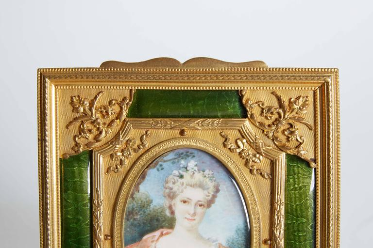 French Gilt Bronze Ormolu and Green Guilloche Enamel Picture Photo Frame For Sale 1