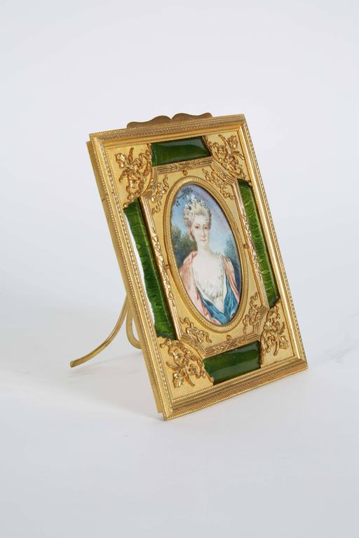 French Gilt Bronze Ormolu and Green Guilloche Enamel Picture Photo Frame 6