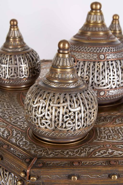 Large Islamic Silver Inlaid Domed Incense Burner with Arabic Calligraphy Moorish In Excellent Condition In New York, NY