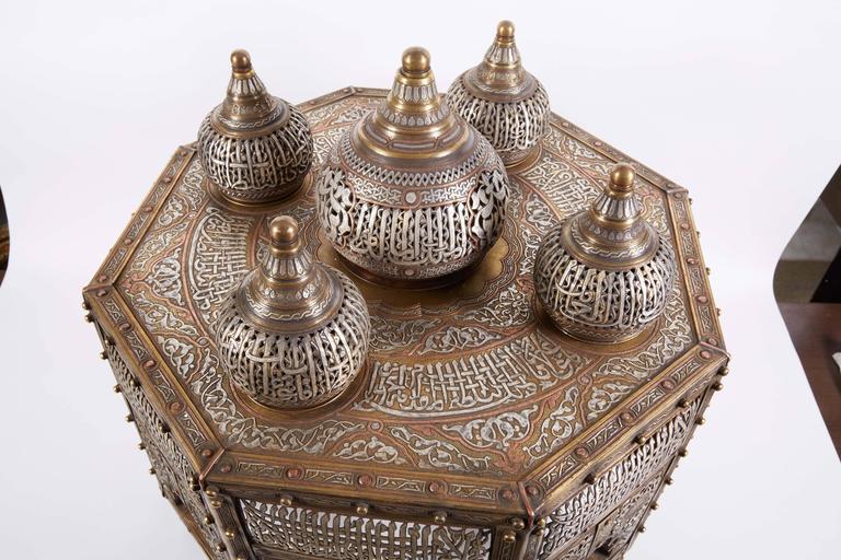 20th Century Large Islamic Silver Inlaid Domed Incense Burner with Arabic Calligraphy Moorish