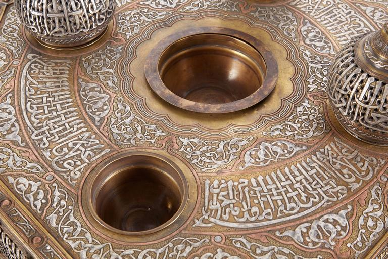 Brass Large Islamic Silver Inlaid Domed Incense Burner with Arabic Calligraphy Moorish