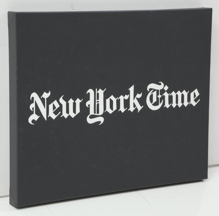 "Contemporary artist Peter Buchman's ""New York Time, No. 2"" acrylic paint on canvas painting was made in 2016. Buchman acts as both Poet and Provocateur when he uses iconic type in his work while examining American culture. The artist finds"