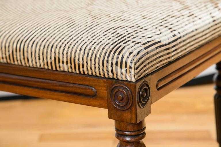 George III 19th Century English Walnut Upholstered Bench For Sale