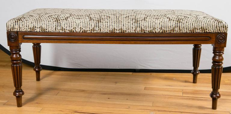 Carved 19th Century English Walnut Upholstered Bench For Sale