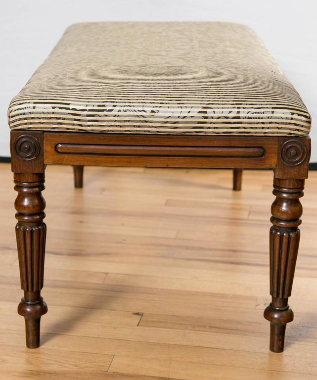 Mid-19th Century 19th Century English Walnut Upholstered Bench For Sale