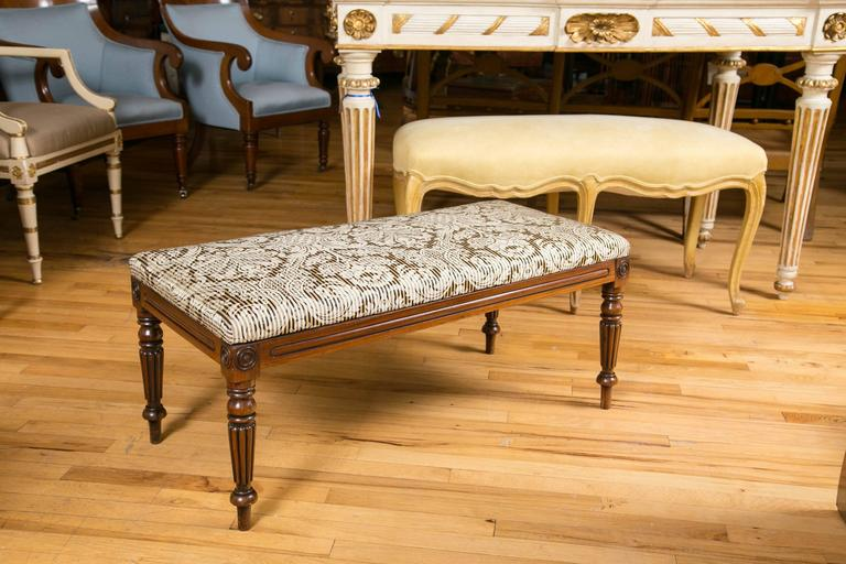 19th Century English Walnut Upholstered Bench For Sale 1