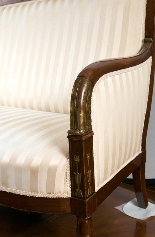Biedermeier 19th Century Mahogany Parcel-Gilt Settee For Sale